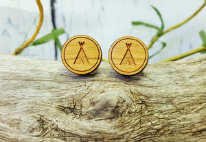 Wigwam Tent Stud Earrings ~ Adventure Awaits, Happy Camper