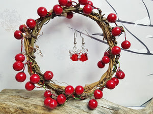 Christmas Earrings ~ Unique Sterling Silver & Ruby Red Swarovski Crystal Earrings