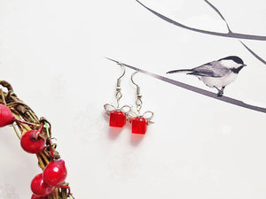 Xmas Gift Earrings ~ Dainty Crystal Gifts ~ Christmas Jewelry ~ July Birthstone