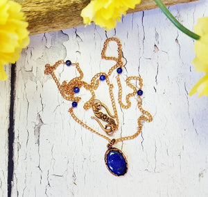 Lapis Lazuli Gemstone & Copper Pendant Necklace