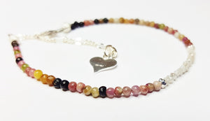 Tourmaline Beaded Bracelet with Sterling Silver & Raw Diamond