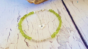 Raw Peridot & Diamond Sterling Silver or 14k Gold Filled Tennis Bracelet