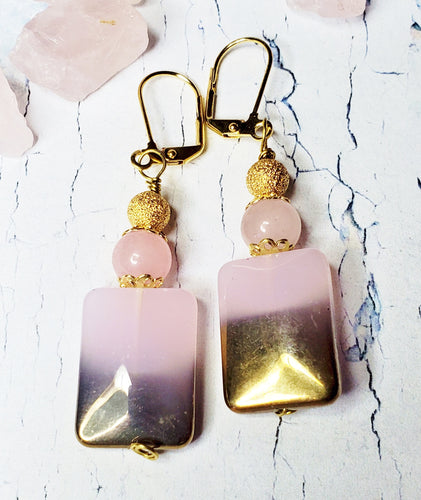 Rose Quartz Earrings ~ Gold Plated Lever Back Pink Gemstone & Glass Statement Earrings
