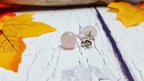 Rose Quartz Stud Earrings ~ Dainty, Minimalist Jewelry