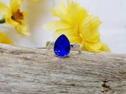 Blue Sapphire Ring ~ Adjustable Sterling Silver & Swarovski Pear Shaped Crystal Ring