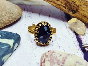 Snowflake Obsidian Ring ~ Antique Bronze Adjustable Oval Crown Ring