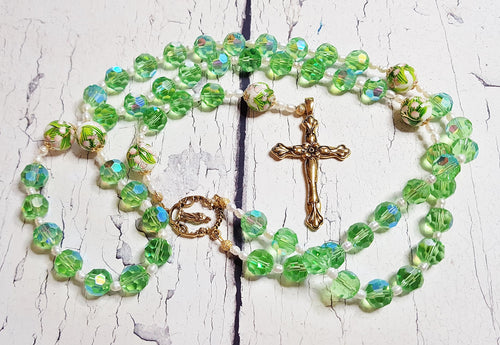 Easter Lily of the Valley Handmade Rosary ~ Catholic Spring Green Crystal Rosary