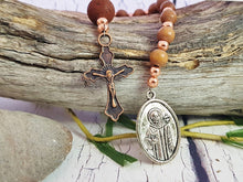Handmade St Francis Rosary ~ Small Catholic Wooden Pocket Rosary with Copper Cross