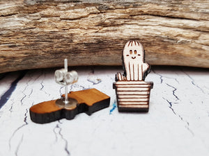 Cute Wooden Cactus Stud Earrings ~ Minimalist Succulent Earrings, Southwest Studs