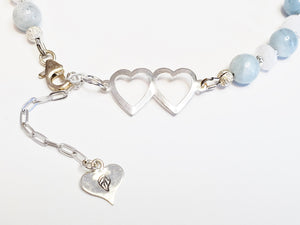 Aquamarine & Moonstone Gemstone Beaded Bracelet ~ Sterling Silver Double Heart Focal~ Personalized Gift