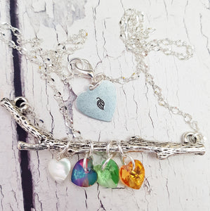 Family Tree Twig Necklace ~ Personalized Handmade Birthstone Necklace
