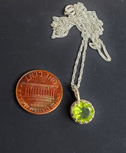 Genuine Peridot Necklace ~ 8mm Peridot Crystal  on an 18 Inch Sterling Silver Chain