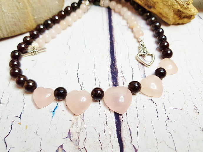 Rose Quartz Necklace ~ Personalized Dainty Garnet & Rose Quartz Heart Choker