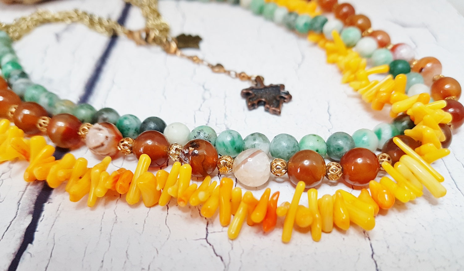 d823efe9752ad Fire Agate, Coral & Jade Choker Necklace ~ Triple Strand Layered ...