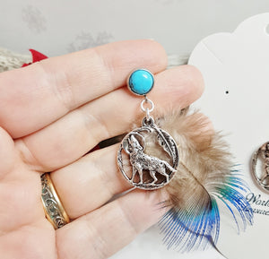 Wolf Stud Earrings ~ Tribal Turquoise Earrings with Wolf Totem Charm & Peacock Blue Feathers