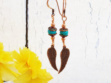 Turquoise & Copper Angel Wing Earrings with a Southwestern Vibe
