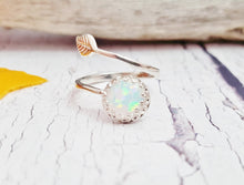 White Opal & Sterling Silver Adjustable Leaf Ring ~ October Birthstone