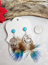 Tribal Turquoise Earrings with Wolf Totem Charm & Peacock Blue Feathers