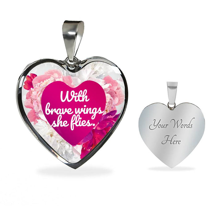 """With brave wings she flies"" - Necklace & Heart Pendant"