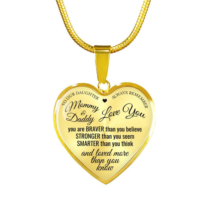 My Daughter Mommy Daddy Love You Necklace or Bangle - Black Font on Silver/Gold