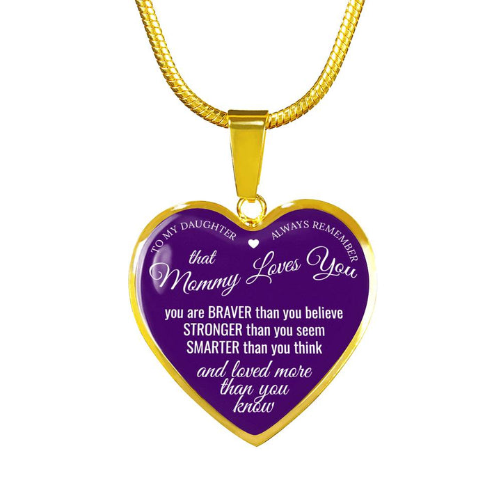 From Mommy to HER Princess!  Mommy Loves You Message - Necklace & Heart Pendant