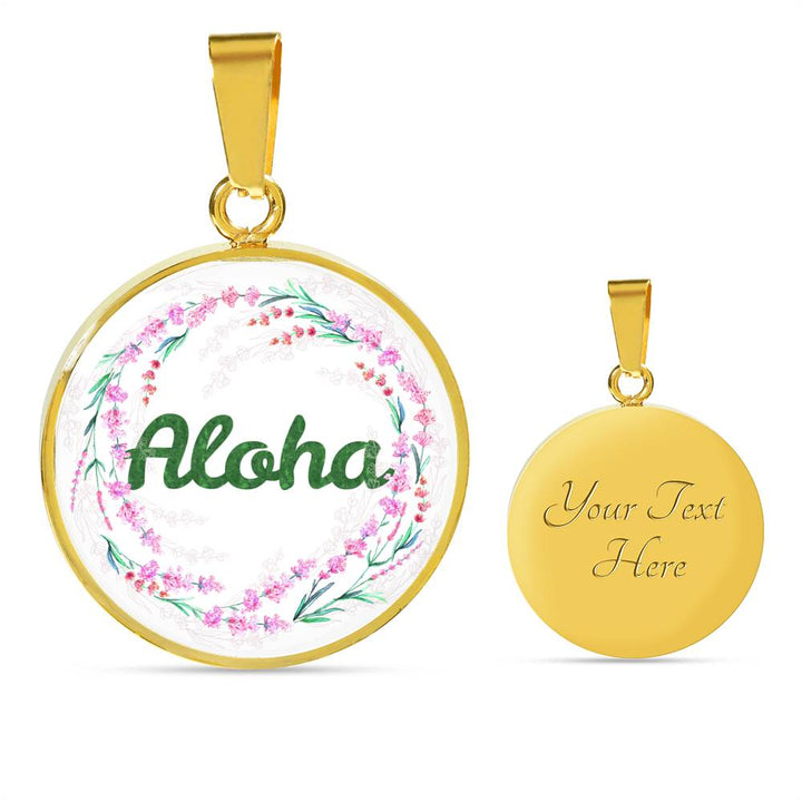 """Aloha"" (White) - Necklace & Circle Pendant"