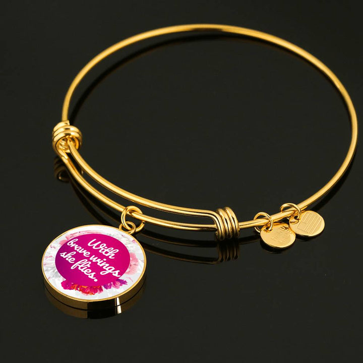 """With brave wings she flies"" - Bangle Bracelet & Circle Pendant"