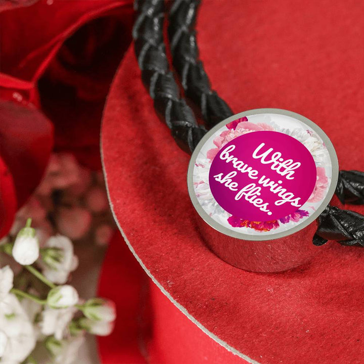 """With brave wings she flies"" - Leather Bracelet & Circle Charm"
