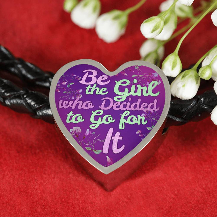 """Be the Girl who Decided to Go for It"" - Leather Bracelet & Heart Charm"