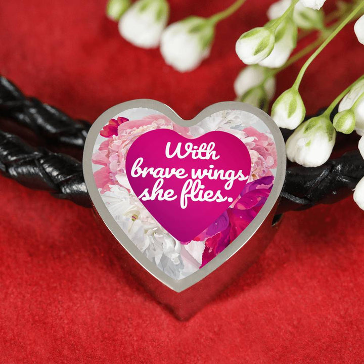 """With brave wings she flies"" - Leather Bracelet & Heart Charm"