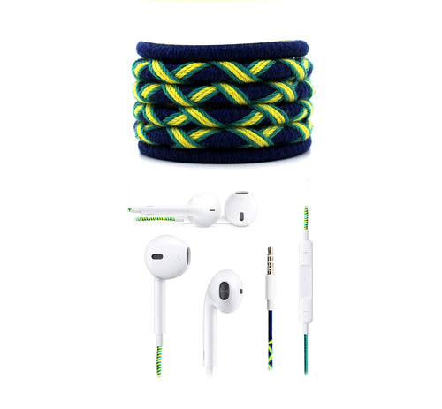Fuego Designer Series 3.5mm Universal in-Ear Earphones with Mic and Volume Control (Blue-Neon Green)
