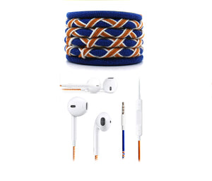Fuego Designer Series 3.5mm Universal in-Ear Earphones with Mic and Volume Control (Blue-Orange)