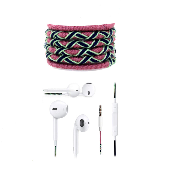 Fuego Designer Series 3.5mm Universal in-Ear Earphones with Mic and Volume Control (Pink-Blue)