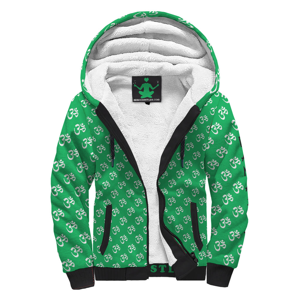 Namaste Green and Black Sherpa Premium Hoodie