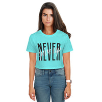 Never Give Up Blue Crop Top t-Shirt
