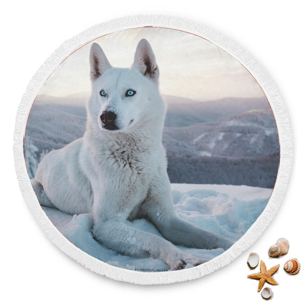 White Doggo Blue Eye Premium Round Beach Blanket
