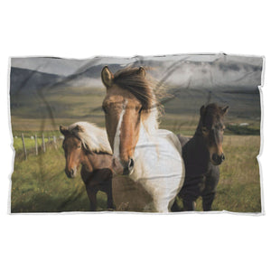 Animal Blanket Country Horses Premium Sherpa Blanket