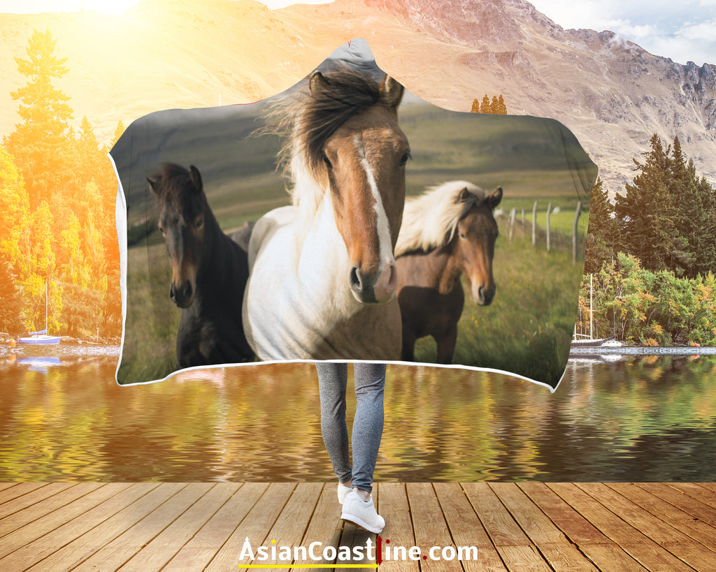 Country Horses Premium Hooded Blanket