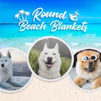 Willow the Doggo Blue Eye Premium Round Beach Blanket
