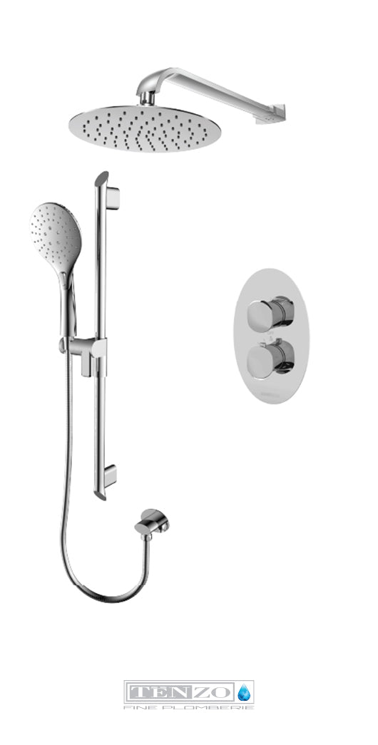 FLUVIA COLLECTION Shower kit, 2 functions thermostatic FLT32-20111-CR