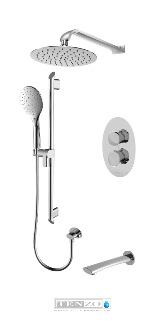 FLUVIA COLLECTION Shower kit, 3 functions thermostatic FLT33-503115-CR