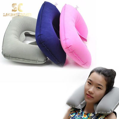 Inflatable U-Shaped Travel Pillow