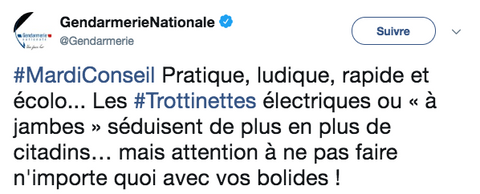 Tweet Gendarmerie Nationale