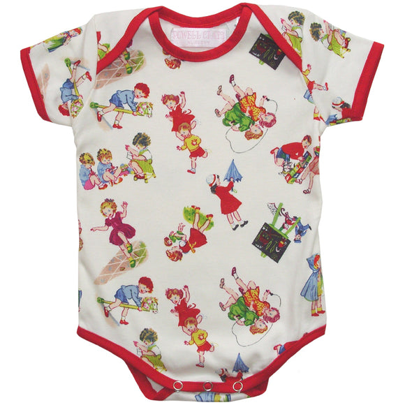 Girls at play print baby grow