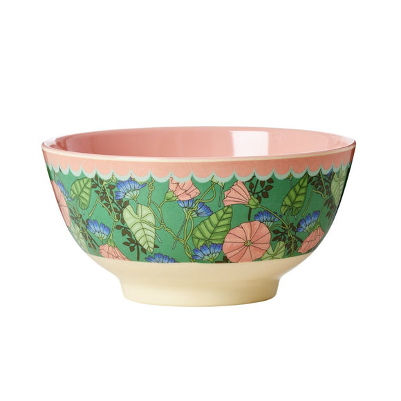 Melamine Bowl Two Tone with Bindweed Print