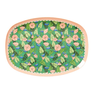 Rectangular Melamine Plate Two Tone with Bindweed Print