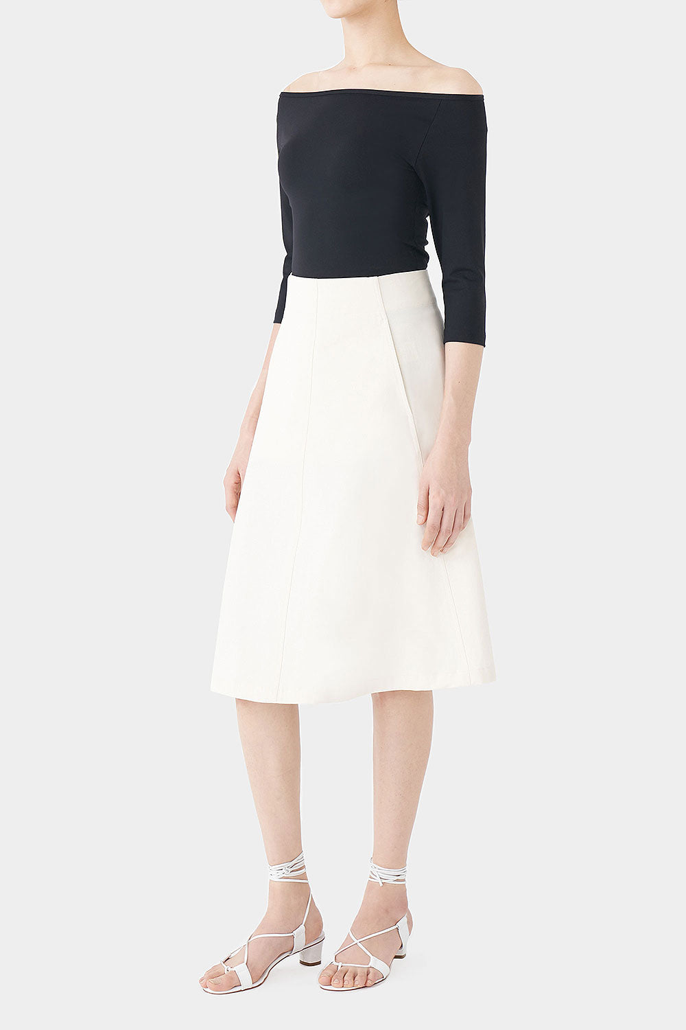 IVORY WILKO COTTON STITCH SKIRT