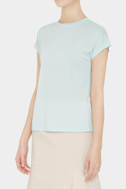 LIGHT BLUE PEIGE SILKY T-SHIRT