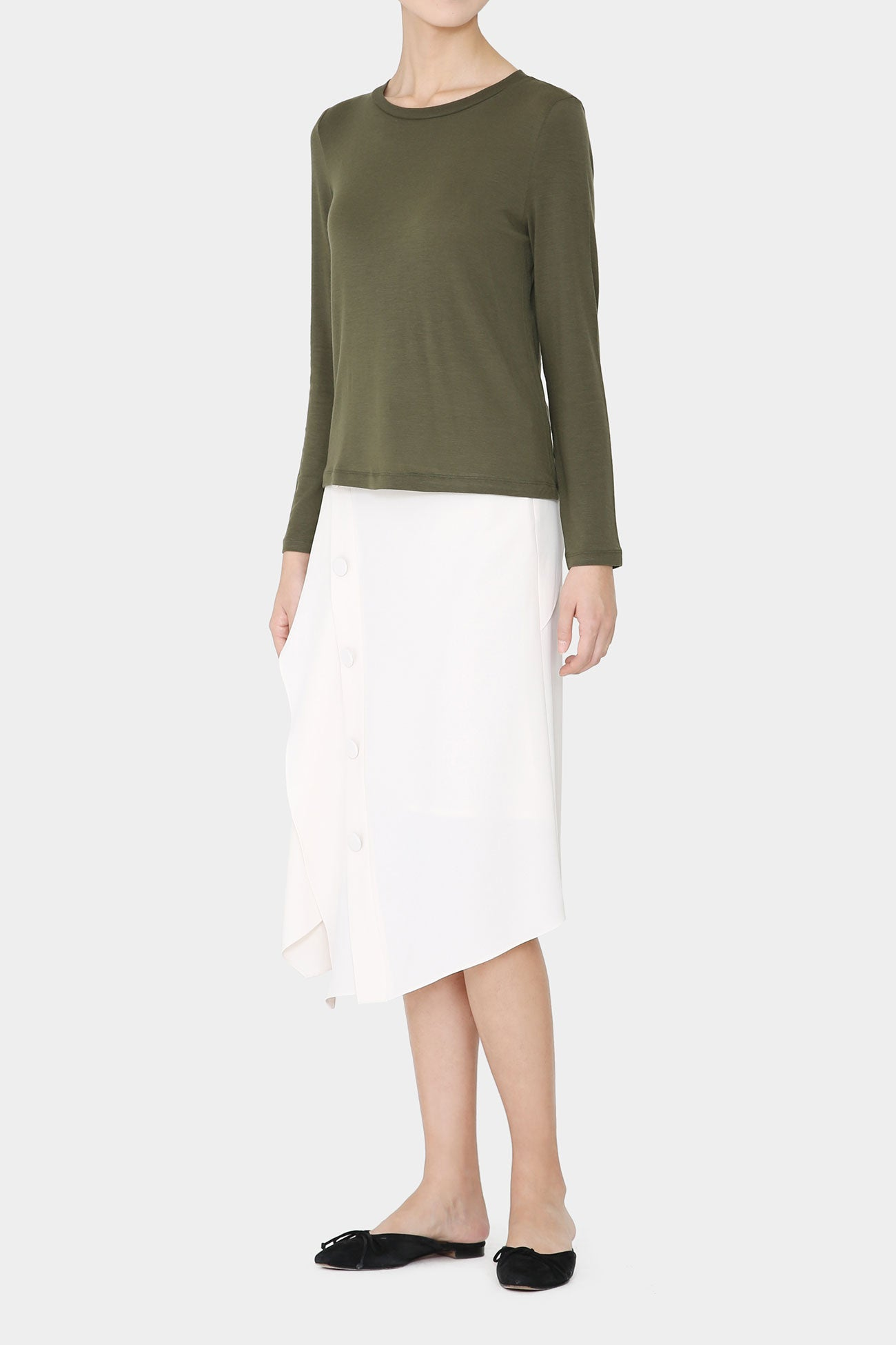 KHAKI FAY LIGHT WOOL T-SHIRT