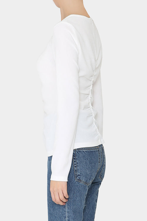 WHITE SIV FRONT GATHERED TOP